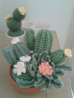 Amigurumi succulents Amigurumi Patterns, Knitting Patterns, Crochet Patterns, Crochet Cactus, Crochet Flowers, Cactus Craft, Yarn Bombing, Cactus Y Suculentas, Beautiful Crochet