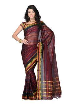 Traditional Wear Maroon Plain Saree Fabdeal