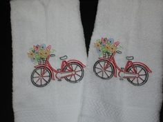 Bicycle-in-Bloom-Vintage-Style-Embroidered-Bathroom-Hand-Towel-Set-2-Piece-White