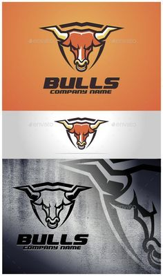 Bulls Logo Template by VectorCrow Logo template suitable for businesses and product names. Easy to edit, change size, color and text. CMYK Ai, and EPS formats fully Gfx Design, Logo Minimalista, Bull Tattoos, Bull Logo, Esports Logo, Bullen, Personal Logo, Media Logo, Animal Logo