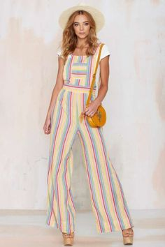 Vintage Hue Are You Rainbow Overalls