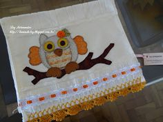 LOY HANDCRAFTS, TOWELS EMBROYDERED WITH SATIN RIBBON ROSES: Toalha bordada em  Patch Apliquê: Coruja
