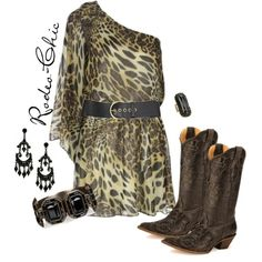 """Wild One"" by rodeo-chic on Polyvore, cowboy boots by @corralboots  with leopard one-shoulder dress, western, animal print"