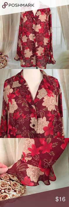 "Sag Harbor Red Floral Print Blouse Beautiful red floral print blouse 100% polyester. Lovely flair on sleeves.  New condition. Size 22W.  Bust 52 and length 29"".  All measurements are approximate. Offers are always welcome.  TB111 LOC-2 Sag Harbor Tops Blouses"