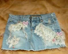 Denim Skirt, Altered Denim, Blue Jean skirt, Skirt