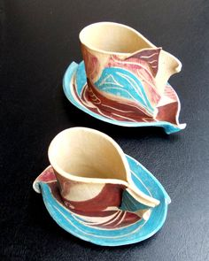 Coffee or tea cup with saucer .Hand painted ceramic cup with ceramic saucer.  #homedecor #ceramics #pottery #art