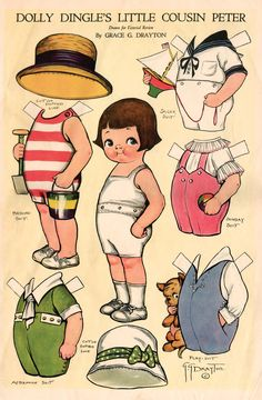 Printable Vintage Paper Doll | Vintage Paper Doll- Dolly Dingle's Cousin Peter