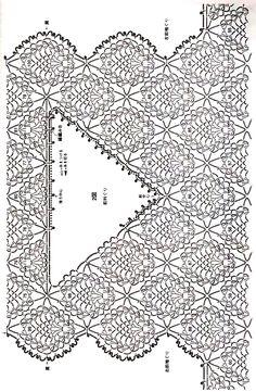 "Photo from album ""Crochet Pineapple Pattern Knitwear (Lady boutique series on - Her Crochet Crochet Lace Collar, Crochet Yoke, Crochet Diagram, Crochet Cardigan, Filet Crochet, Crochet Stitches Chart, Crochet Patterns, Diy Crafts Crochet, Pineapple Crochet"
