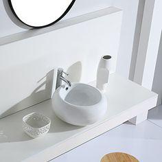 Vasque /à Poser Rectangulaire Vasque Suspendue Mural Lavabo Salle de Bain en C/éramique Lave-Mains L60,5*L42,5*H14cm Eridanus S/érie Toro