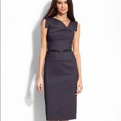 01082b7050e Black Halo Jackie O Sheath Midi Dress Grey Green