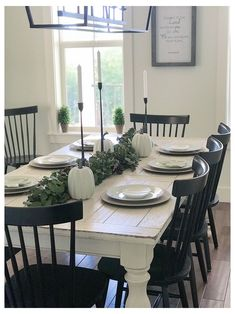 White Dining Room Table, White Farmhouse Table, Farmhouse Dining Room Table, Dining Set, Farmhouse Style, Farmhouse Ideas, Rustic Farmhouse, Long Dining Room Tables, Black And White Dining Room