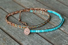 Leather Wrap Bracelet Turquoise and Brown Beaded Wrap