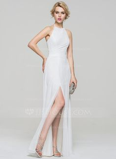 [US$ 106.99] A-Line/Princess Halter Floor-Length Chiffon Evening Dress With Ruffle Split Front
