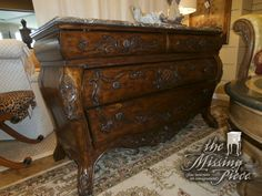 Philippe Langdon carved walnut chest with marble top. Stunning. Great entrance piece or perfect for an oversized nightstand chest. Measures 52*20*34. Two in store at time of posting. Arrived: Wednesday December 7th, 2016