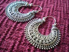Tribal Filigree Ethnic Gypsy Earrings Silver Brass Gold Tone Dangle Hoop Spiral Detail Funky Unique 20 18 gauge 1mm Normal Standard Piercing. $20.00, via Etsy.