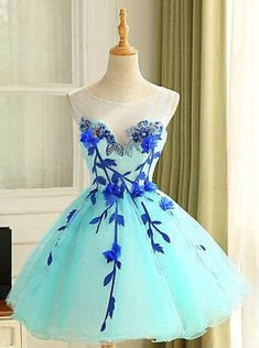 Ball Gown Scoop Short Mint Organza Homecoming Dress with Appliques Beading