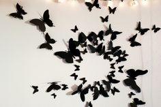 deco-chambre-ado-fille-papillons-noirs-papier-bricolage-gossip-girl