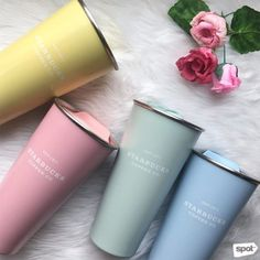 All we need to say are these two words: Pastel tumblers. And they're not just any pastel tumblers.they're Starbucks pastel tumblers. Copo Starbucks, Starbucks Tumbler, Starbucks Drinks, Coffee Thermos, Coffee Drinks, Coffee Cups, Cute Water Bottles, Tumblr Cup, Cute Cups