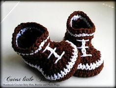 Football Crochet Baby Boy Booties, Football Baby Booties, Brown Crochet Baby Boy Boots, Football Booties