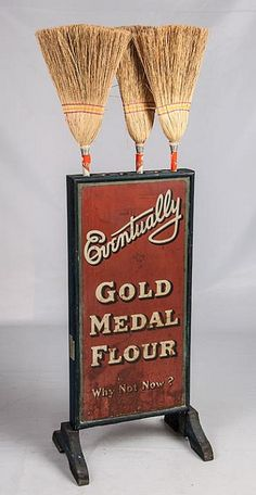 Gold medal flour double sided broom holder - by Golden Memories Auction Co. Old General Stores, Old Country Stores, Old Advertisements, Advertising Signs, Antique Signs, Vintage Signs, Country Store Display, Brooms And Brushes, Broom Holder