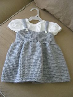 Grey Baby Dress - Tunisian Crocheted 0-6 Months