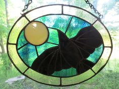 Crow Raven Wicca Pagan Witchy Stained Glass Suncatcher by PerizadCreations on Etsy