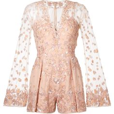 Zuhair Murad embellished romper (16 036 005 LBP) ❤ liked on Polyvore featuring jumpsuits, rompers, dresses, zuhair murad, pink rompers, playsuit romper and pink romper
