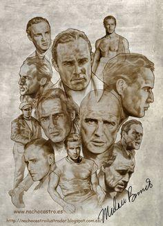 """Marlon Brando,illustration from the book """"Hombres de Hollywood"""".Nacho Castro.Diábolo ediciones"""