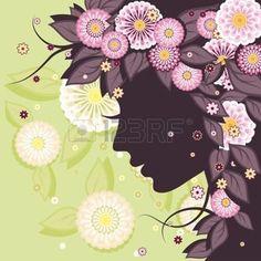 silueta rostro: Fondo floral decorativo con los patrones de las margaritas y la silueta cara de la mujer. Vectores