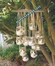 Make a fab DIY garden chandelier from jam jars Diy Garden Decor, Garden Crafts, Garden Projects, Diy Home Decor, Decoration Plante, Outdoor Lighting, Outdoor Decor, Jar Crafts, Yard Art