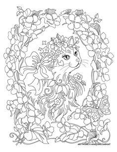 "Marjorie Sarnat's Pampered Pets ""portrait CAT flower"""