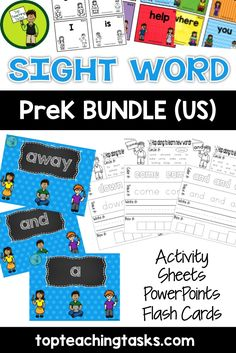 This bundle includes the 40 PreK Dolch Sight Words in engaging printables, PowerPoint and Flash Cards to help your students gain sight word fluency! Use this as part of your Word Work Daily 5 activities, or as an addition to your writing program. A great bonus – NO PREP! Just PRINT and GO! Available at www.topteaching.com!