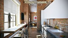 http://boomzer.com/3-dashing-industrial-marvelous-loft-inside/brick-and-wood-ceilings-light-shade-aluminum-bar-chairs-wall-table-mini-kitchen-kitchen-sink-white-kitchen-cabinetry-wooden-floors-glass-window-food-storage-cabinets-standing-lamp/