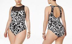 0586417c0fab5 Lauren Ralph Lauren Plus Size Regent Floral-Print High-Neck One-Piece  Swimsuit
