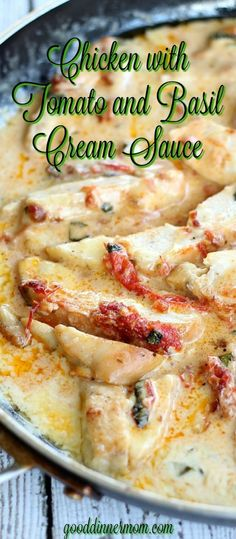 Chicken with Tomato and Basil Cream Sauce. # chicken # chicken and tomatoes # Chicken with Tomato and Basil Cream Sauce. # chicken # chicken and tomatoes # Turkey Recipes, Meat Recipes, Dinner Recipes, Cooking Recipes, Healthy Recipes, Recipies, Easy Cooking, Cooking Pasta, Pizza Recipes