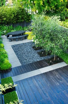 This is too much of a modern look for my backyard, but I like the design of different surfaces