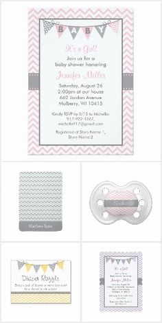 Chevron print Birthday Invitations, Pacifiers, Buttons, Nursery Lamps, Business Cards and more.  Designed by Jana Katz.