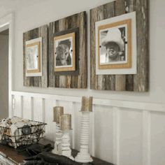 Love these reclaimed wood frames- could use pallets!...totally doing this with new pics