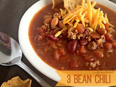 Three Bean Chili | An Affair from the Heart nothing like a hot bowlful of chili on a cold day to warm you from the inside out! Homemade Three Bean Chili #chili #beans #soup #recipes
