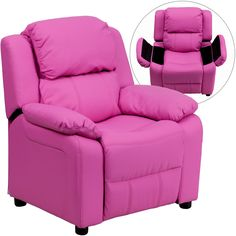 Flash Furniture Deluxe Padded Contemporary Hot Pink Vinyl Kids Recliner with Storage Arms [BT-7985-KID-HOT-PINK-GG]