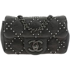 Pre-owned Chanel Black Calfskin Paris Dallas Studded Extra Mini Flap... (18 310 SEK) ❤ liked on Polyvore featuring bags, handbags, cross-body handbag, mini cross body purse, chanel purse, long cross body purses and mini crossbody purse