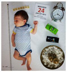 """Faire-part de naissance. Bonne idée la  citation ou le proverbe avec la date du jour pour donner quelques """"indices"""" sur la personnalité du bébé."""