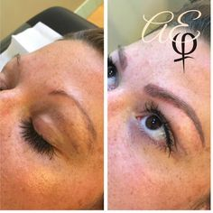 Before and After Microblading by Artist: Alana Everett | AURA, Midland Michigan | www.cosmetictattoostudio.com | Semi-Permanent Makeup for Eyebrows | FeatherTouch | Hairstroke Eyebrows | Brow Tattoo | Eyebrow Embroidery | Alopecia | Perfect Brows