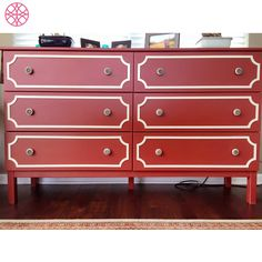 O'verlays Anne Kit for Ikea Tarva dresser done by Shannon Thomasick in red and gold