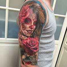 @Regrann from @lizcooktattoo - Here's a pic of the Liz Girl dotd half sleeve I finished up yesterday. Check out the previous post for a video! #eternalink #diadelosmuertos #dayofthedead #lewisvilletx #rebelmusetattoo #stencilstuff #quickcaps #redemptionaftercare #tatsoul #opustattoogloves #dallastx #Regrann