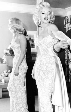 Marilyn Monroe getting ready for the premiere of How to Marry a Millionaire, 1953.