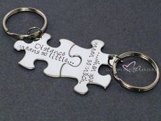 Long Distance Relationship, Couple Keychain, Distance Means So Little