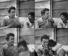 James Dean with friends at Googie's Diner, Hollywood, CA 1955.