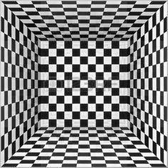 gezichtsbedrog%3A+Zwart-wit+schaakbord+muren+vector+kamer+achtergrond+Stock+Illustratie