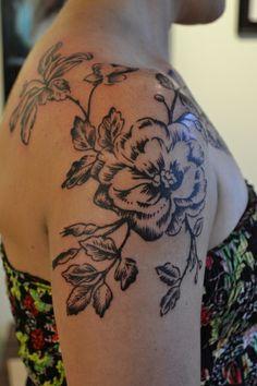 Black and grey flower shoulder piece by Caryl Cunningham